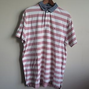 Tommy Hilfiger Red Striped Chambray Polo Shirt
